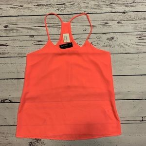 By Together Bright Neon Pink Woven Solid Tank Top